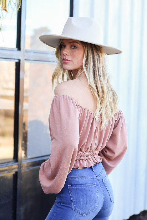 Dress Up Model wearing Taupe Off the shoulder Smocked Waist Blouse Side View