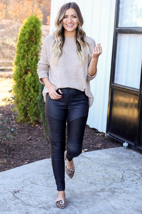 Black - Coated Moto Jeans