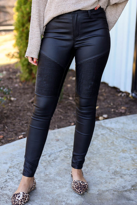 Black - Coated Moto Jeans Detail View