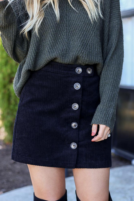 Black - Button Front Corduroy Mini Skirt Detail View