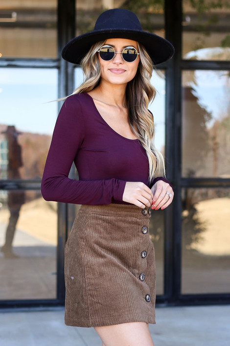 Brown - Button Front Corduroy Mini Skirt Side View