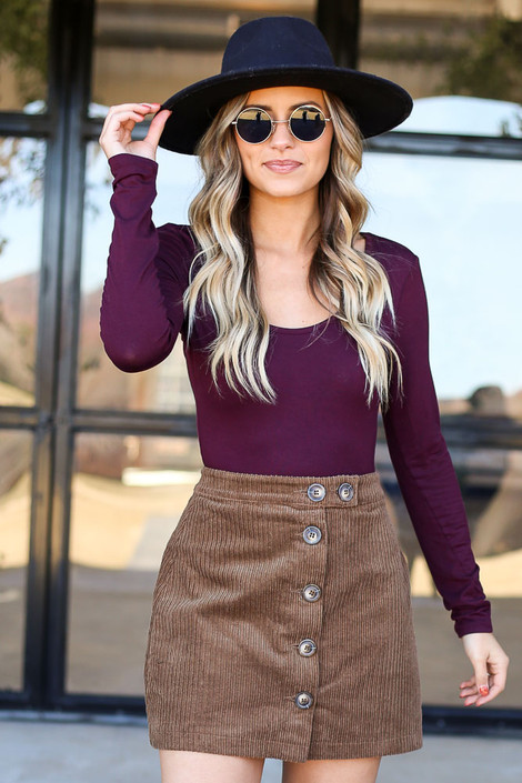 Dress Up Model wearing Brown Button Front Corduroy Mini Skirt Front View