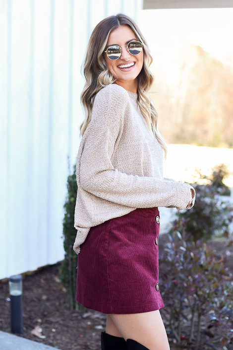 Dress Up Model wearing Burgundy Button Front Corduroy Mini Skirt Side View
