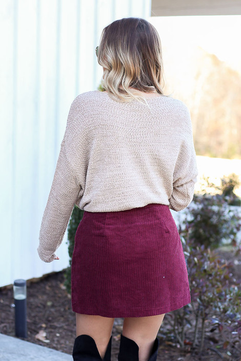 Dress Up Model wearing Burgundy Button Front Corduroy Mini Skirt Back View