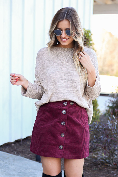 Burgundy - Button Front Corduroy Mini Skirt Front View