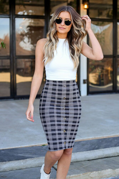 Black - Button Front Plaid Pencil Skirt from Dress Up Boutique