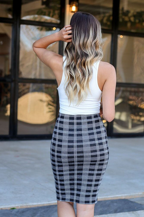 Model of Dress Up wearing the Button Front Plaid Pencil Skirt - Back View