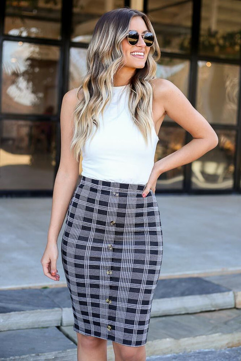 Model of Dress Up wearing the Button Front Plaid Pencil Skirt - Front View