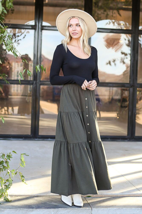 Dress Up Model wearing the Olive Button Front Tiered Skirt - Front View