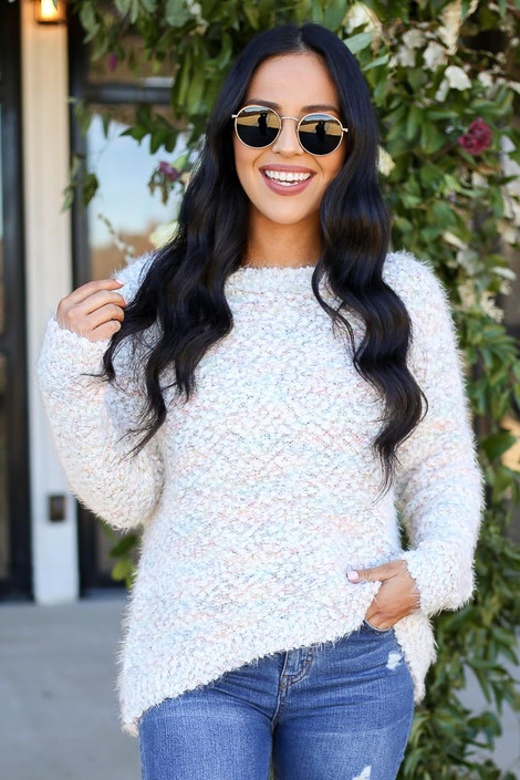 Multi - Pastel Colored Popcorn Knit Sweater