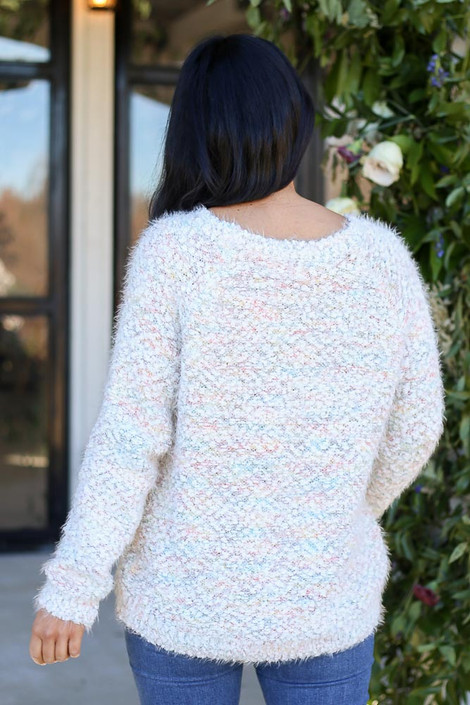 Multi - Pastel Colored Popcorn Knit Sweater Back View
