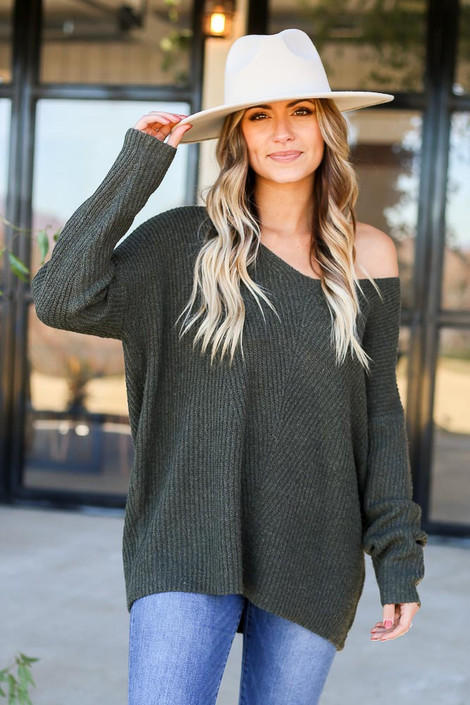 Olive - Ribbed Knit Oversized Sweater