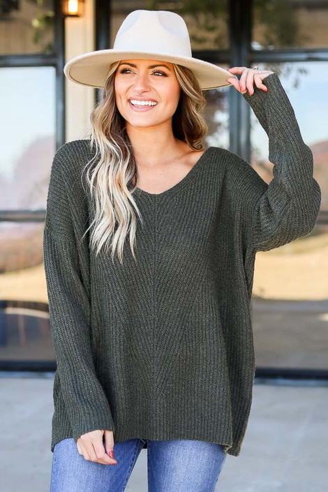 Dress Up Model wearing Olive Ribbed Knit Oversized Sweater Front View