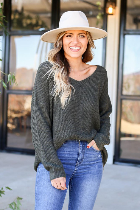 Olive - Ribbed Knit Oversized Sweater Tucked In