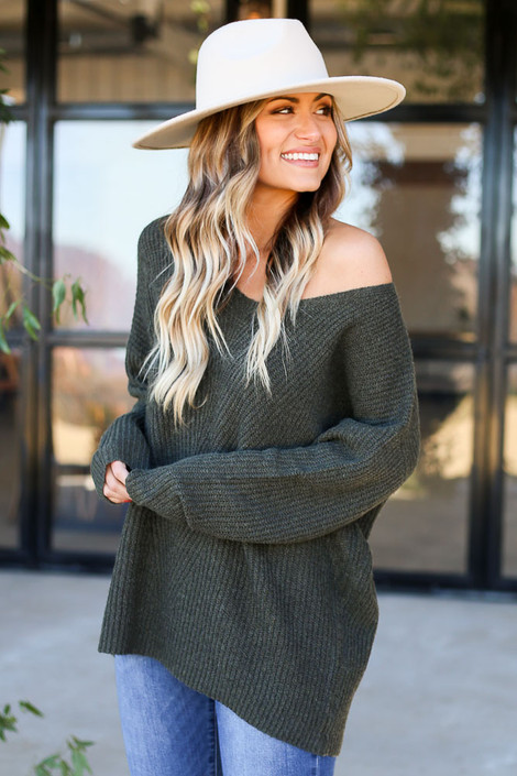 Dress Up Model wearing Olive Ribbed Knit Oversized Sweater Side View