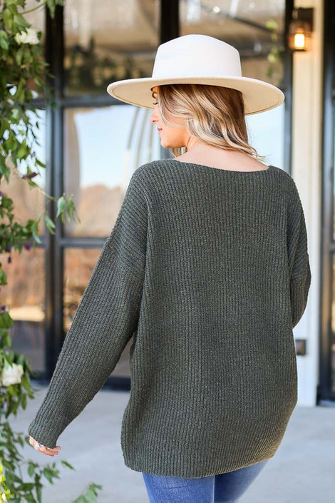 Dress Up Model wearing Olive Ribbed Knit Oversized Sweater Back View