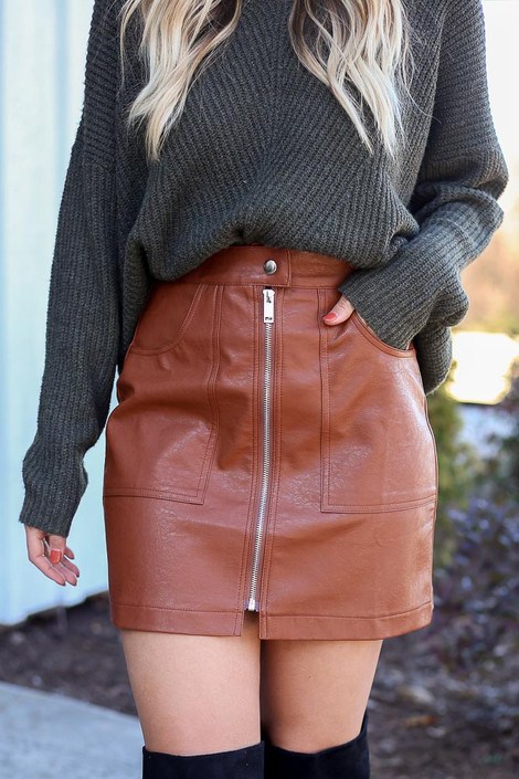 Camel - Zip Front Vegan Leather Mini Skirt Detail View