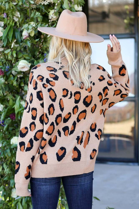 Model from Dress Up wearing the Luxe Leopard Sweater - Back View
