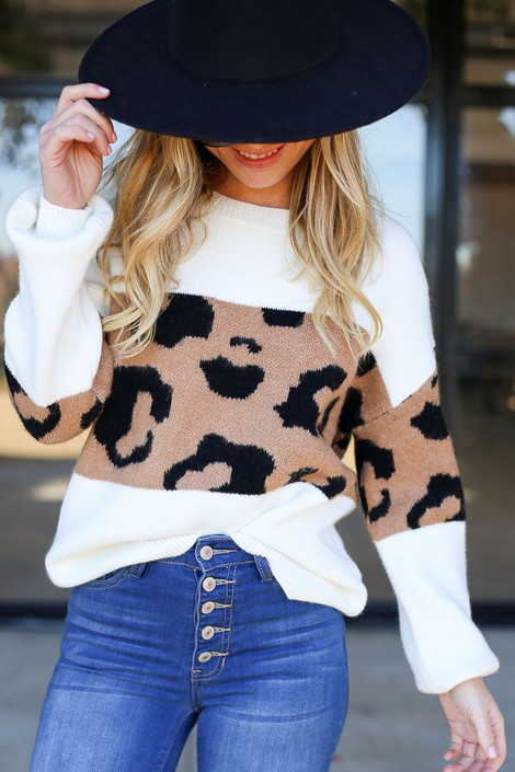 Model wearing the Leopard Color Block Sweater - Front Close Up View