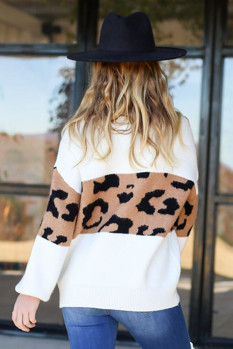 Model wearing the Leopard Color Block Sweater - Back View