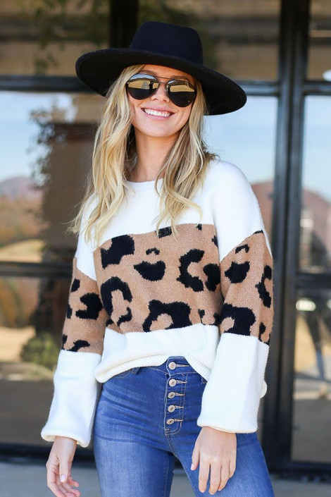Model wearing the Leopard Color Block Sweater - Front View