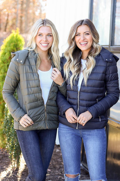 Black - and Olive Faux Fur Lined Puffer Jacket