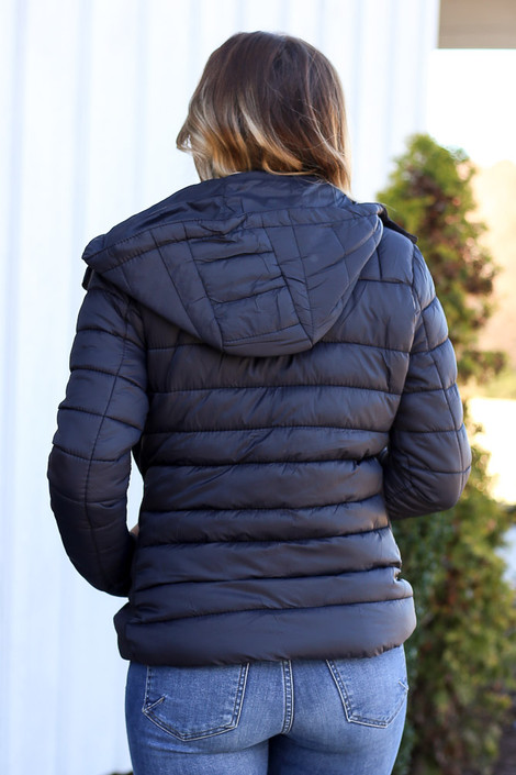 Black - Faux Fur Lined Puffer Jacket Back View