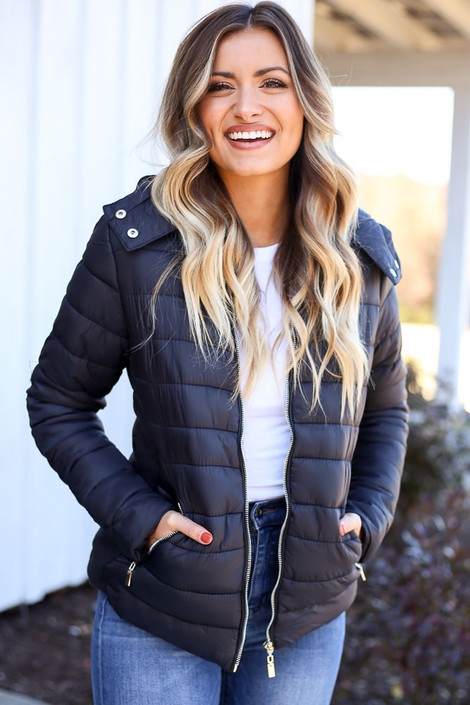 Black - Faux Fur Lined Puffer Jacket