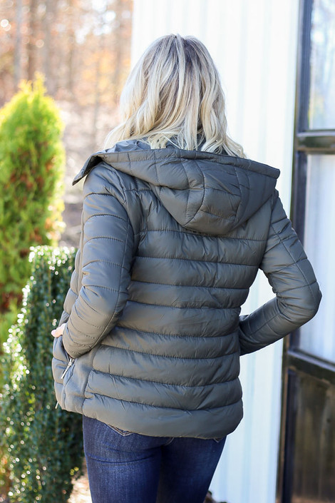 Olive - Faux Fur Lined Puffer Jacket Back View