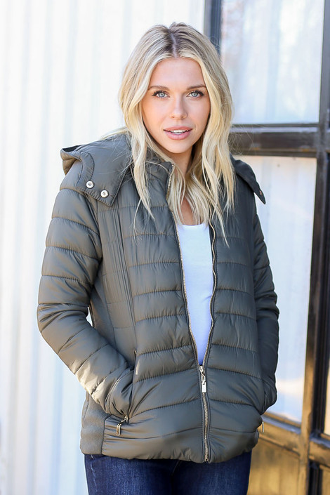 Olive - Faux Fur Lined Puffer Jacket