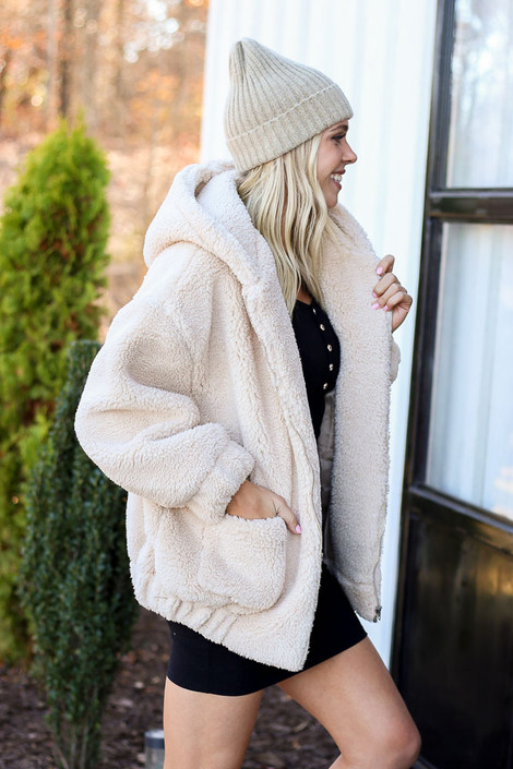 Taupe - Hooded Sherpa Teddy Jacket Side View