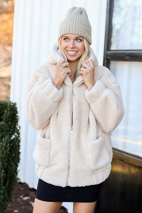 Dress Up Model wearing Taupe Hooded Sherpa Teddy Jacket Front View
