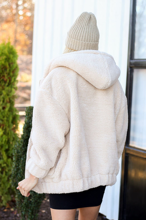 Dress Up Model wearing Taupe Hooded Sherpa Teddy Jacket Back View