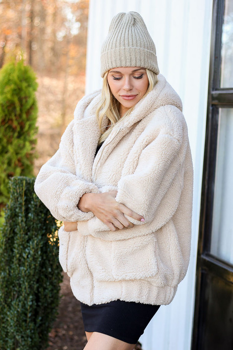 Dress Up Model wearing Taupe Hooded Sherpa Teddy Jacket Side View