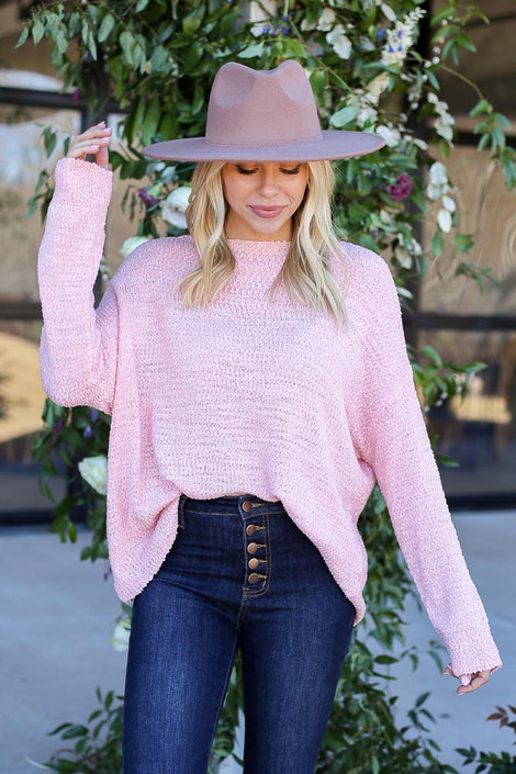 Blush - Textured Knit Sweater Tucked In