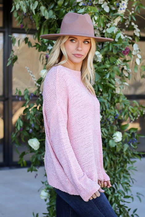 Blush - Textured Knit Sweater Side View