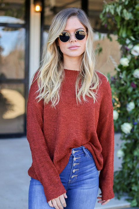 Rust - Textured Knit Sweater