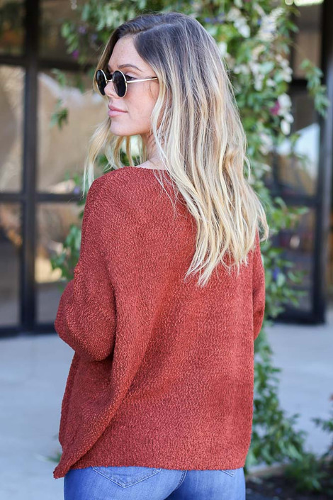 Rust - Textured Knit Sweater Back View