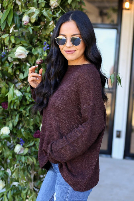 Brown - Textured Knit Sweater Side View