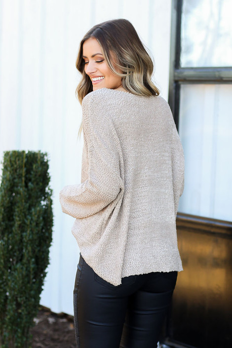 Mocha - Textured Knit Sweater Side View