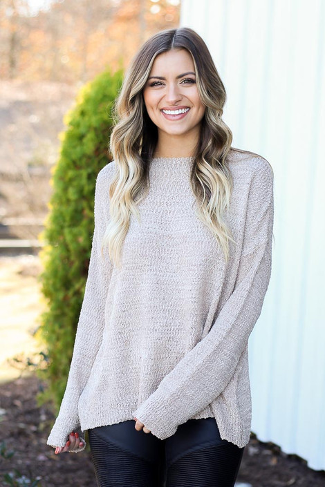Mocha - Textured Knit Sweater