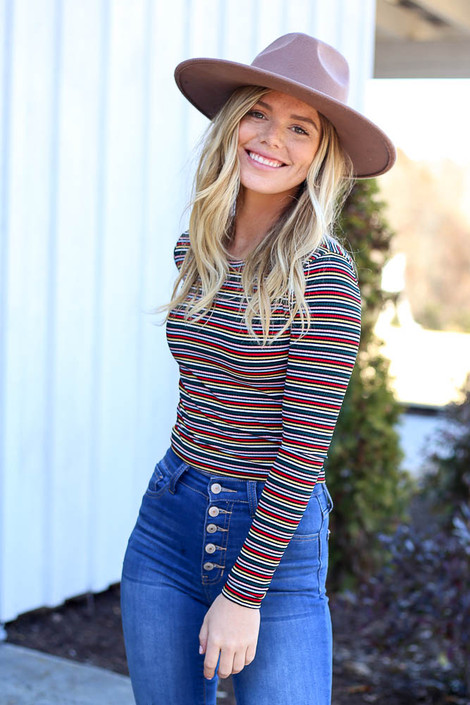Multi - Multi-Color Striped Long Sleeve Drop Front View