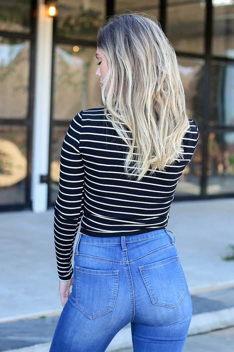 Black - and White Striped Ribbed Long Sleeve Crop Top Back View