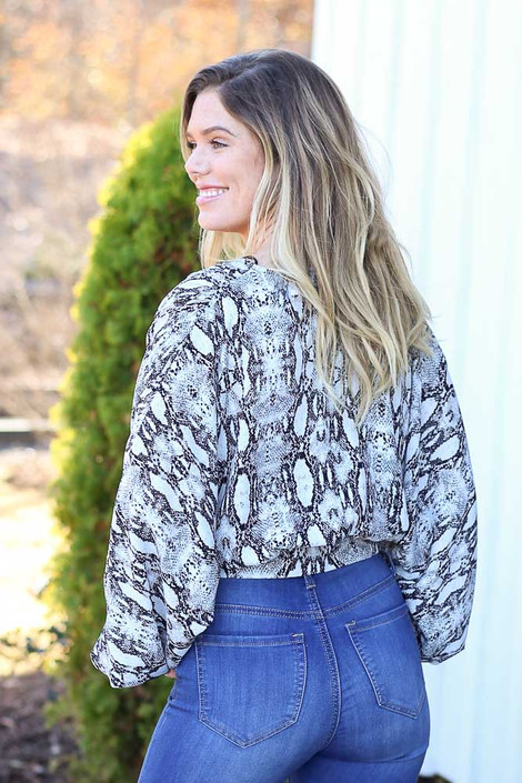 Dress Up Model wearing Grey Snakeskin Cropped Balloon Sleeve Blouse Back View