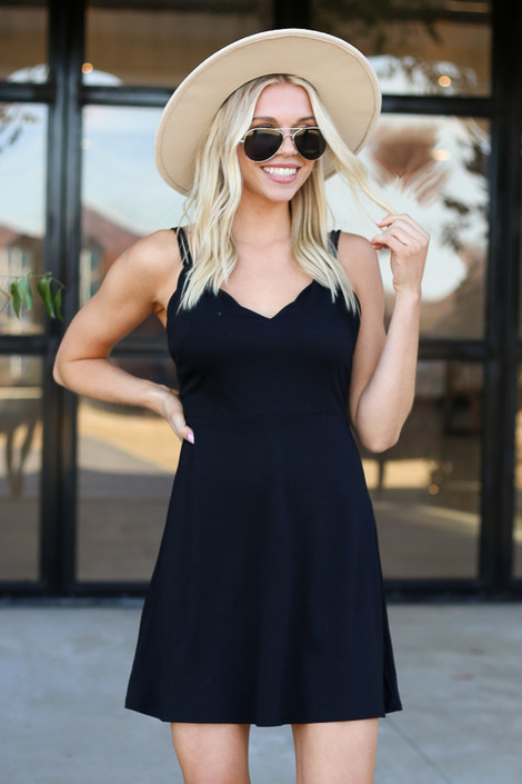 Dress Up Model wearing Black Sleeveless Skater Dress