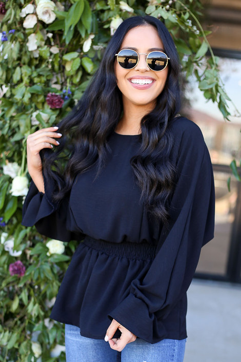 Black - Smocked Waist balloon Sleeve Blouse Front View