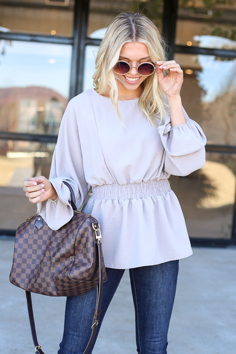 Grey - Smocked Waist balloon Sleeve Blouse Front View