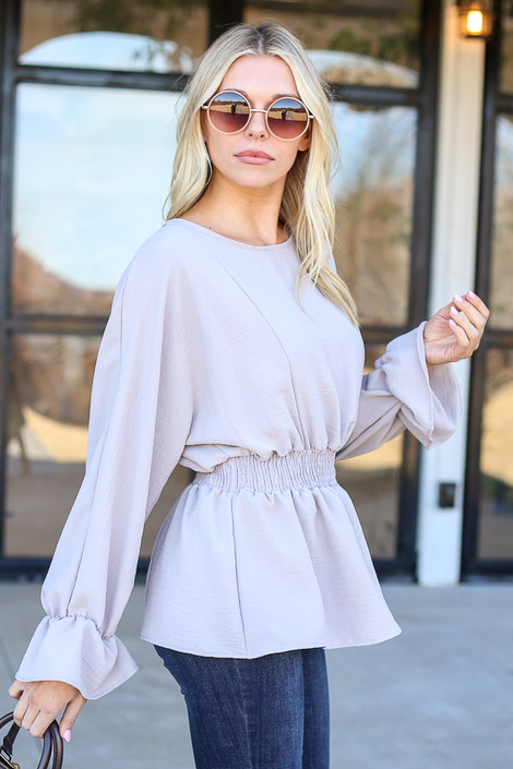 Grey - Smocked Waist balloon Sleeve Blouse Side View