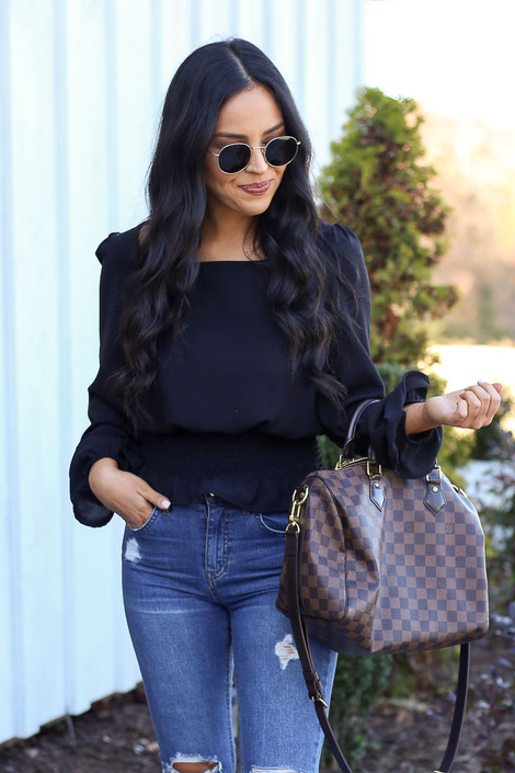 Black - Smocked Waist Blouse