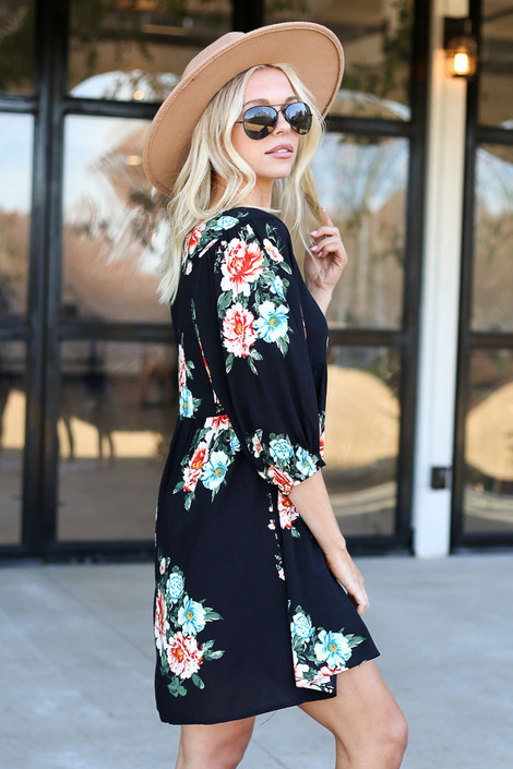Black - Floral Print Babydoll Dress Side View